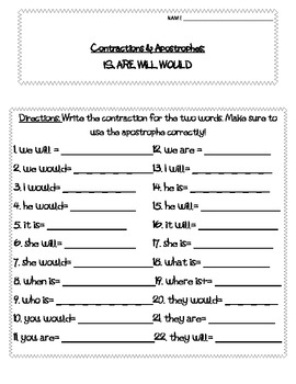 Contraction IS, ARE, WILL, WOULD worksheets