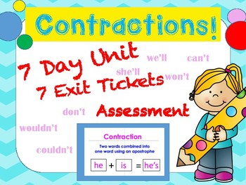 Contraction Unit! 7 Day PPT Lessons, Exit Tickets & Assessment! NO PREP