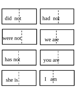 Contraction Lesson Worksheets