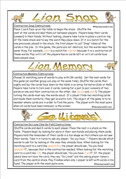 Contraction Lions Card Game