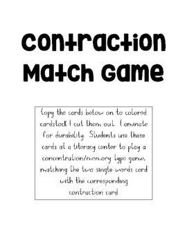 Contraction Match Game