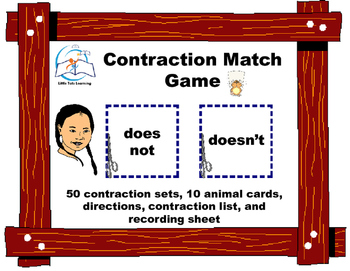 Contractions Game: Contraction Match Game for Literacy Centers