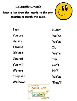 Contraction Match Printable