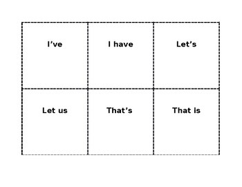 Contraction Match Up Cards