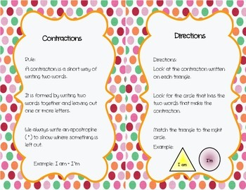 Contraction Match-Up Cards ~ Grammar Activity