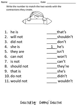 Contraction Match Worksheet
