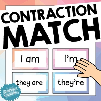 Contractions Match or Memory Game - Perfect for Spelling, Grammar + Word Work!