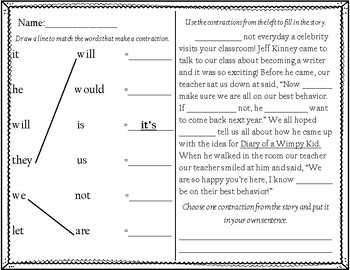 Contraction Matching and Fill in the Blank