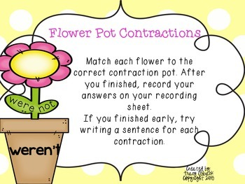 Contractions Practice Center * Spring and Flower Themed *