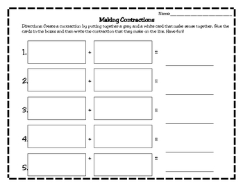 Contraction Practice- Matching Game and Making Words Activity