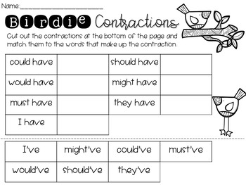 Contraction Printables
