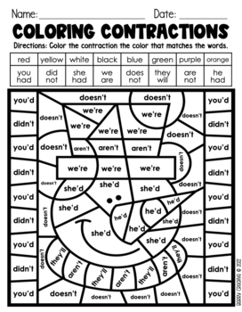 Contraction Printables {Winter Themed}