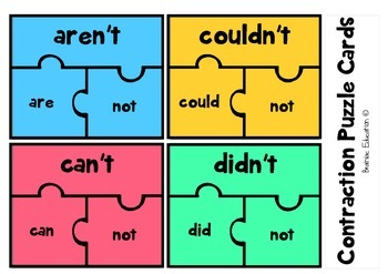 Contraction Puzzle Cards