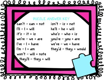 Contraction Puzzles - Building contractions out of 2 base words