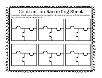 Contraction Puzzles with Recording Sheet