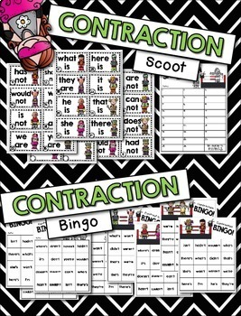 Contractions Games --- Scoot, Bingo, Posters & More  {am, are, is, not}