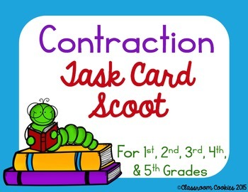 Contraction Task Card Scoot For Grades 1, 2, 3, 4, & 5