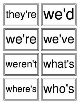 Contraction Spelling Cards