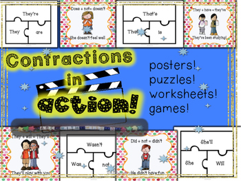 Contractions in Action- Grammar Lesson, Activities, Posters and Worksheets!
