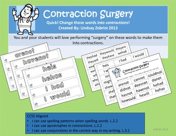 Contraction Surgery: 2nd-3rd Grade Common Core Practice Activity
