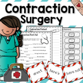 Contractions Surgery, 3 Literacy Station Games, & Foldable Activities