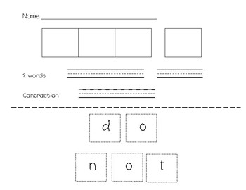 Contraction Surgery Worksheets