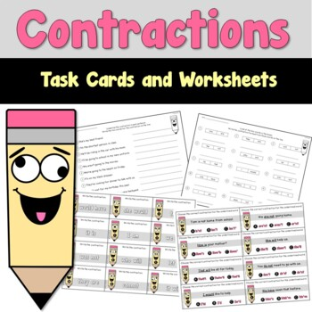 Contractions Task Cards and Worksheets