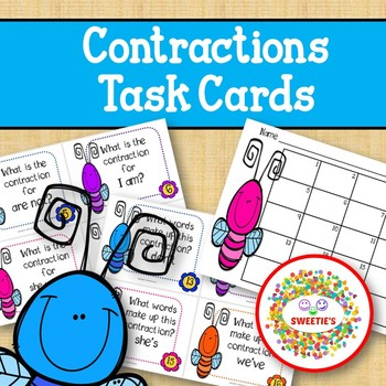 Contraction Task Cards - Bugs