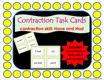 Contraction Task Cards Bundle