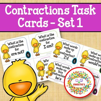 Contraction Task Cards - Chicks and Eggs