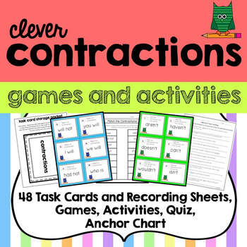 Contraction 48 Task Cards, Games and Activities, Anchor Chart, Storage Pocket