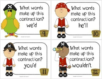 Contraction Task Cards - Pirates