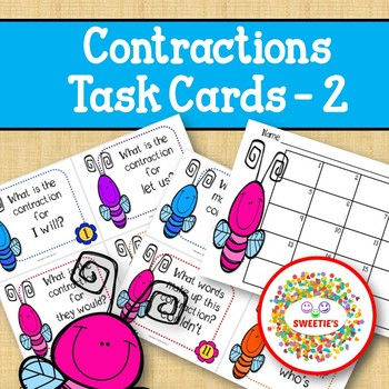 Contraction Task Cards - Set 2 - Bugs