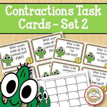 Contraction Task Cards - Set 2 - Cactus
