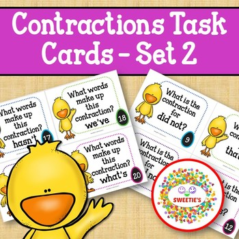 Contraction Task Cards - Set 2 - Chicks and Eggs