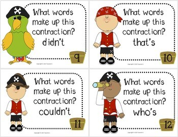 Contraction Task Cards - Set 2 Pirates