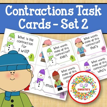 Contraction Task Cards - Set 2 Winter