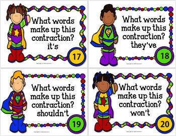 Contraction Task Cards - Super Hero