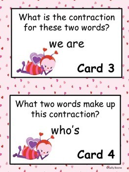 Valentine's Day Activities Contraction Task Cards