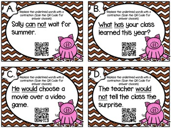 Contraction Task Cards- With QR Code Options