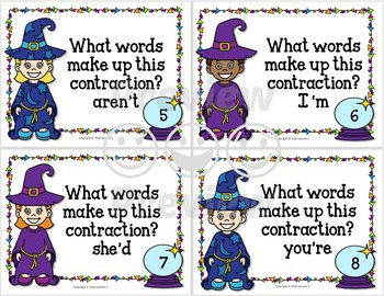 Contraction Task Cards - Wizards