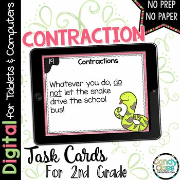 Contraction Digital Task Cards - Paperless Option