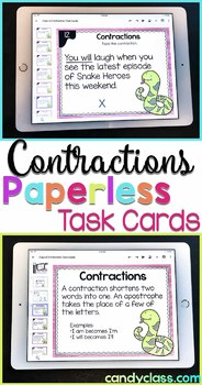 Contraction Task Cards - 2nd Grade Grammar Activity for Google Classroom Use