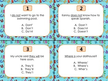 Contraction Task Cards {SCOOT} 2 Choices
