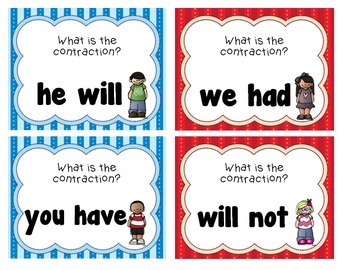 Contraction Task Cards or Scoot