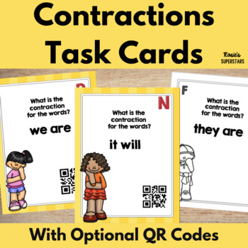 Contraction Task Cards with Optional QR Codes