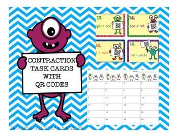 Contraction Task Cards with Self-Checking QR Codes and Response Sheet