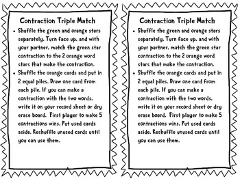 Contraction Triple Match Task Cards