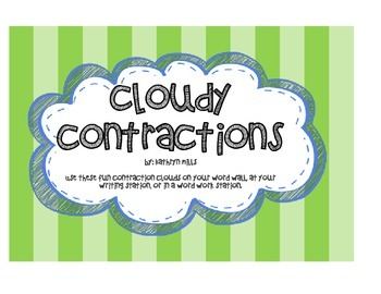 Contraction Word Clouds / Bulletin Board / Word Work Stati