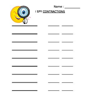 Contraction Word Hunt
